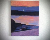 Hudson River Valley Sunset Original Abstract Seascape Painting Landscape Art by Will Wieber
