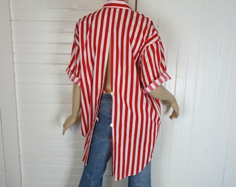 80s Tunic in Red & White Stripes- 1980s- Cotton Open Back Blouse- Carnival