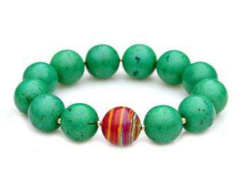 Green Turquoise Bracelet Chunky STATEMENT Stacking Gem Beaded Stretch Tribal Rustic Feminine Flare Stackable Summer Goddess Mei Faith