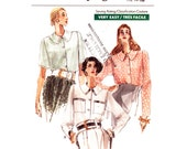 Easy Blouse Pattern Vogue 7563 Loose Fit Blouse Long or Above Elbow Sleeves Collar Pockets Womens Sewing Pattern Size 12 14 16 UNCUT