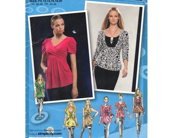 Empire Tops Pattern Simplicity 2733 Size 12 to 20 Pullover Top Crossover Bodice Sleeve Options Project Runway Women Sewing Pattern UNCUT