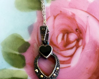 Vintage sterling Silver 925 Marcasite Heart Necklace pendant Black Enamel
