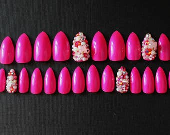 Bling Life Rhinestone Accent Nail, Swarovski Studded Fake Nails In Your Choice Of Colors, Bling, Rhinestone Fake Nail, Custom Fake Nails