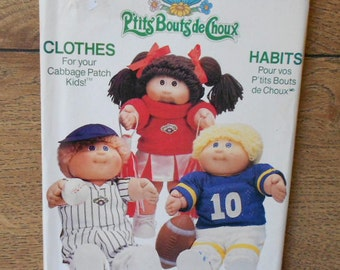 Vintage 80s sewing pattern Butterick 6827 CABBAGE PATCH Doll Clothes 16 inch uncut toys children girl