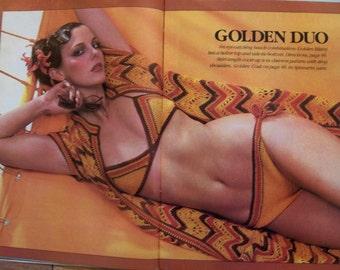 Vintage 70s Crochet It patterns misses beach cover ups bikinis jackets vests tops