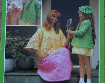 Vintage 60s 70s Crochet pattern Layette, Coat, Hat, Bed Jacket