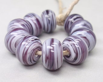 White Swirls  - 10 Handmade Lampwork Beads SW 180