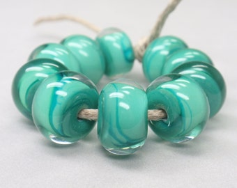 Petroleum Green encased with clear - 10 handmade lampwork beads