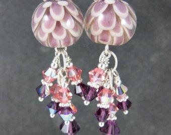Purple Peach Lotus Flower & Crystal Dangle Earrings, Water Lily Earrings Botanical Earrings Floral Earrings Lampwork Earrings Spring Jewelry