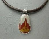 Noreena Jasper Choker Necklace, Sterling Silver, Campfire