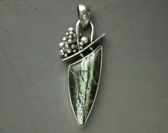 Chrysotile Serpentine/ Green Zebra Jasper Pendant, Sterling Silver
