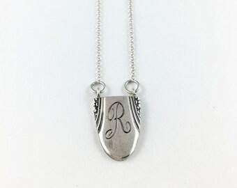 R Necklace, Letter R Necklace, Monogram R Jewelry, Initial necklace, spoon necklace, letter necklace, Letter R jewelry, Spoon Pendant