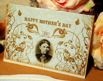 lizzie borden mother's day card: old world parchment paper card w/ macabre design - for those with decidedly complicated relationships