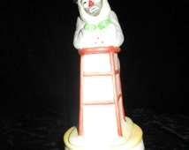 Music Box - Bisque Clown-Emmett Kelly Clown Standing/Leaning on Stool-Plays-Send in The Clowns ~ Vintage  Flambro  ~ Music Box  Why  Me!!!