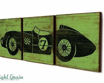 Baby Boy Nursery Decor - Custom Race Car Art - Vintage RaceCar Rustic Print 12x36