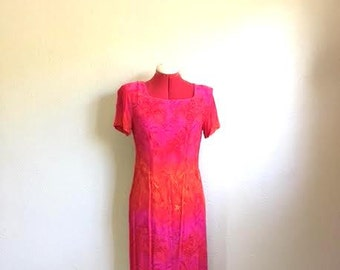 Vintage 90s BRIGHT Pink Red Orange Floral Dress