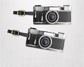 Retro Camera Photographer Luggage Tags Personalized Luggage Tags  Personalized Custom Backs - 2 Tags with Straps- Black and Gray Camera