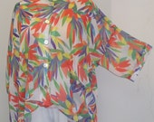 Coco and Juan, Plus Size Shirt Top, Lagenlook, Orange, Bird of Paradise Print, High Low Shirt, Women's Jacket, OS 1X 2X 3X Bust to 64 inches