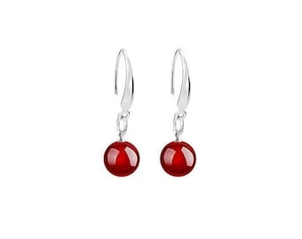 Red Agate Earrings -  Sterling Silver Red Agate  Dangle Earrings - Gift For Her