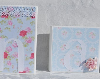 Baby Name Blocks . Shabby Chic Personalized Blocks . with lace buttons roses in blue and pink with green