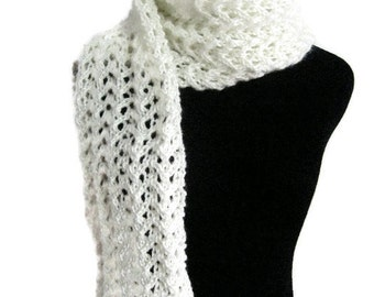 Off White Knit Scarf, Lace Scarf, Vanilla Scarf, Womens Accessories, Vegan Scarf Spring Fashion Scarf