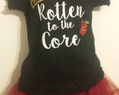 Girls Descendants Glitter Sparkle Rotten to the Core Crown Apple Birthday Shirt Tank Onesie WITH NAME
