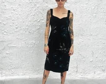 Vintage 1960s Velvet Little Painted Black Dress Gorgeous Mid Century Wiggle Dress S/M