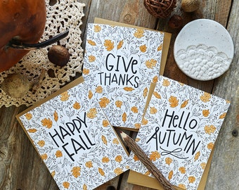 Happy Fall, Give Thanks, Hello Autumn, Set of FOUR seasonal Folded Note Cards, Autumn, Stationery, Hand Drawn, Illustration, Thanksgiving