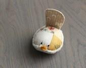 Mustard Yellow Floral Bird Pincushion Floral Pin Keep Small Pin Cushion Handmade Pincushion