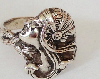Vintage Art Nouveau Ring Sterling Silver 20s Ladies Head Woman's Face Cloche Swirly Hair Mucha Girl Style Handmade 1920 Look Ring Size 7