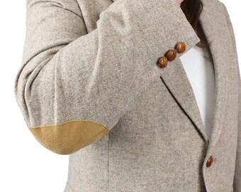 Vintage Elbow Patch Blazer 42R Beige Gray Wool Tweed Professor Jacket Sport Coat Free US Shipping
