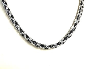 Cool Mens Necklace. Black Silver Chain Necklace. Chainmail Jewelry. Chainmaille Necklace. Byzantine Necklace. Unisex Necklace. Gift for Men.