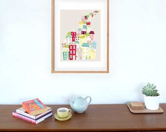 City Living Skyline Paper Art Print, Cityscape illustration, Home decor, Colorful Art kids, House warming, Moving house gift, red pastel