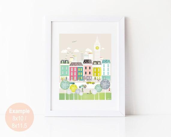 London Print - London Art Print, Wall Art, Big Ben, Travel Art, Cityscape illustration, Home decor, Nursery, Gift for her, Christmas Gift
