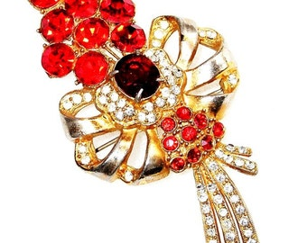 Scarlet Red and Clear 1930's Pot Metal Flower Brooch