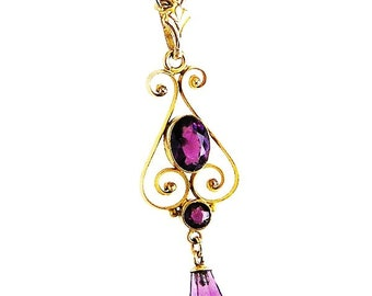 Victorian Style Amethyst Glass Lavaliere c.1920-30's