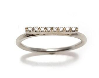 Unique Engagement Ring, Diamond Bar Ring, Diamond Bar Stackable Ring, Pave Diamond Bar Ring
