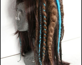 Custom Made - Brown and turquoise synthetic dread wig with dreadlock braids