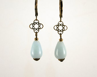 """Earrings """"Petites Etoilles"""" Amazonite bronze laiton spirit vintage bleu blue semi-precious stone gold"""