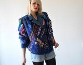 50% OFF SALE...80s kitsch knit leather jacket. oversized cardigan. novelty cardigan - large
