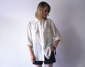 80s 90s cream silk shirt. cream blouse. slouch silk shirt - medium