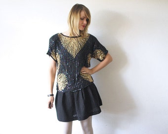80s slouch sequin top. beaded silk blouse. black and gold top. Art Deco style blouse - medium, large