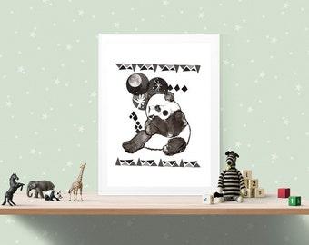 Panda Fine Art Print - Art for Children and Babies - Gift - Panda Artwork - Wall Art - Home Decor- A4 A3 Print