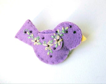 """Handmade Felt Bird Brooch or Pin In Lavender with yellow, green and purple Embroidered and Beaded Embellishments  - scarf pin 2.75x1.5"""""""