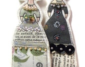 Whimsical Tall Crown Queen Ornaments Set of Two Doll Decorations Handmade Embellished Flat Fabric Tiny Doll Decorations