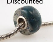 Discounted Leland bluestone large hole bead fits all popular style bracelets, made with sterling silver 9732