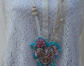 Cross Textile Art Necklace, Handmade Fabric Heart Necklace, Shabby Chic Romantic Pink & Teal, Mixed Media, Wearable Art, Victorian Necklace