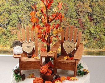 5 Inch Cake Top Autumn Woodland Rustic Wedding Cake Topper Personalized Handmade To Order