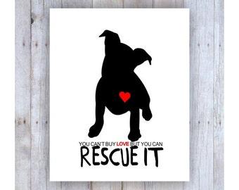 Dog Rescue, Black Dog, Dog Art, Rescue Dog, Dog Poster, Dog Print, Dog Picture, Animal Rescue, Dog Wall Decor, Pet Art, Home Decor