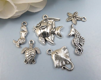6 UNDER THE SEA Charm Collection -Assorted, Each One Different- Antique Silver Charms -Fish, Mermaid, Turtle, Sting Ray, Seahorse, Starfish